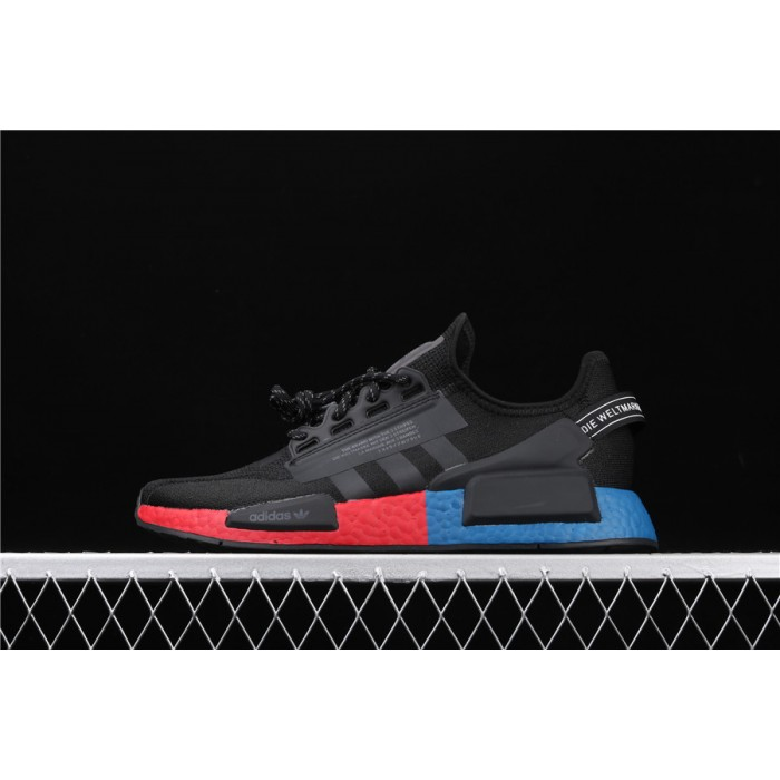 Mens Adidas NMD Real Boost R1 V2 FV9023 Black Blue Red
