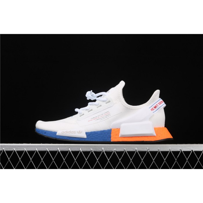 Mens Adidas NMD Real Boost R1 V2 FX3949 Cream Orange Blue
