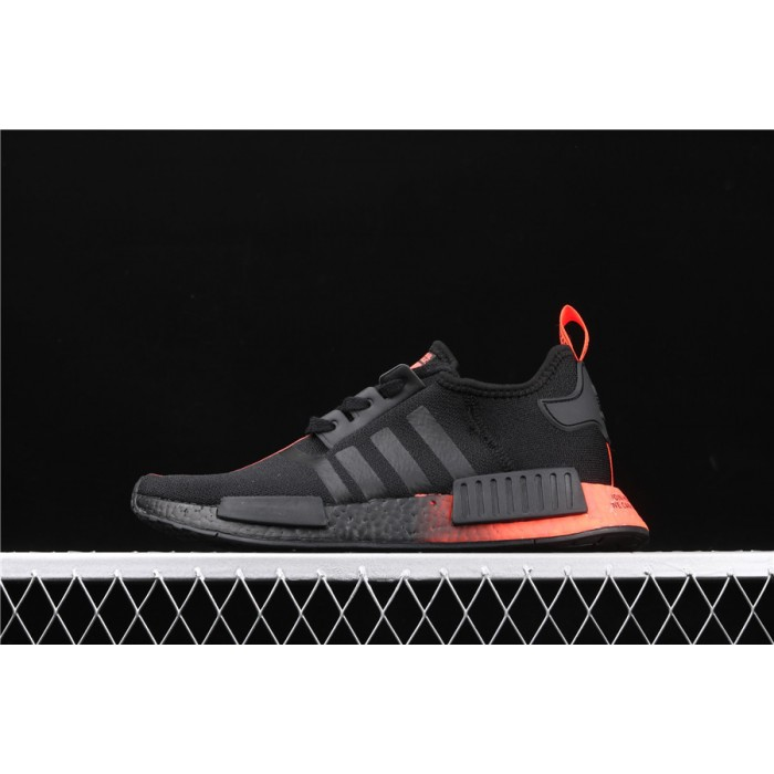 Mens Adidas NMD Real Boost R1 FW2282 In Black Orange