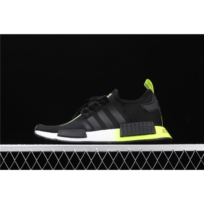 Mens Adidas NMD Real Boost R1 FW2283 In Black Fluorescent